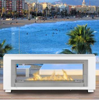 Foyer Santa Cruz   Dim:63 po long x 22.75 po haut x 7.87 po profond,couleur blanc et stainless ou noir et stainless avec brûleur de 3.65 L.Prix:$3200