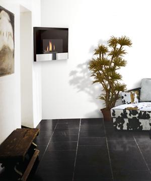 Foyer Vésuve (en coin)    Dim:30.20 po long x 19.70 po haut x 15.25 po profond,noir et stainless avec brûleur de 750 ml.Prix:$749