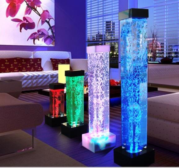 Colonne d eau carré a bulle     Base en acrylique noir avec lumière au led 16 couleurs et télécommande. Dimension 39.25 po de haut x 4.75 po x 4.75 po.Prix $299