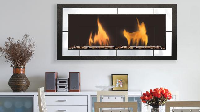 Foyer Fogo 2 (semi-encastrer)   dim:51.70 po long x 23 po haut x 7 po profond avec brûleur de 1.1 L se fait en noir et stainless ou noir.Prix:$1895