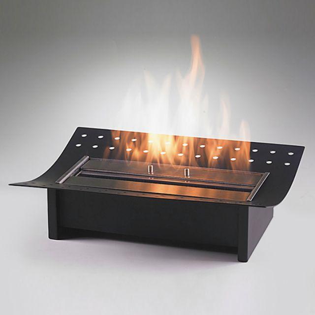 Foyer insert    Dim:15.75 po long x 12 po profond x 4.50 po haut couleur noir et stainless avec brûleur de 1.5 L. Prix: $399