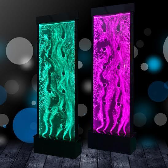Mur d eau dansant a bulle  Base en acrylique noir avec lumière au led 16 couleurs. Dimension 78.75 de haut x 33.5 po de large x 9 po de profond vient avec télécommande pour jeux de lumière.Prix $1999