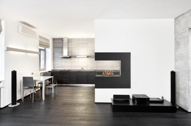 Foyer triple face Paramount     Dim:35.25 po long x 35.25 po haut x 13.5 po profond avec bruleur de 1.5 L disponible en noir ou  blanc lustré.Prix:$1495